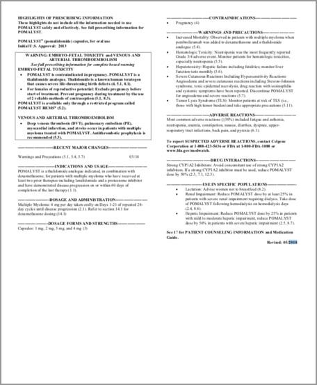 POMALYST® (pomalidomide) Full Prescribing Information
