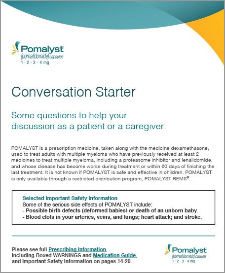 POMALYST® (pomalidomide) Patient Conversation Starter